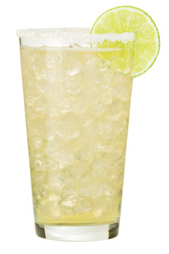Tall double margarita cocktail with salt and lime garnish isolated on white background for use alone or as a design element