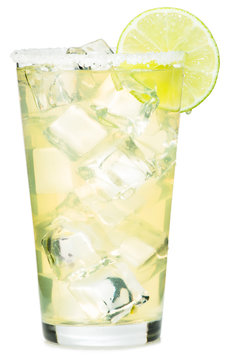 Tall double tequila margarita on the rocks cocktail with salt rim and lime garnish isolated on white background for use alone or as a design element