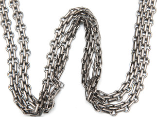 silver chain on a white background