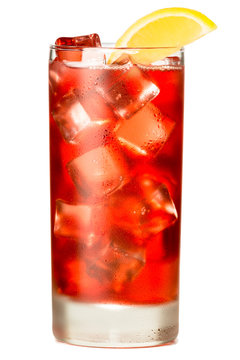 Tall highball cranberry juice sea breeze cocktail isolated on white background