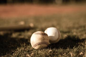 Sepia Baseball Balls on Grass