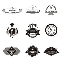 Flat and plain restaurant logo vintage with black and white color