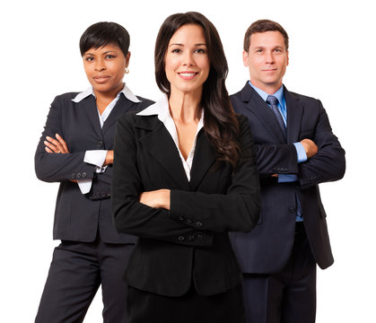 Businesswomen and Businessman Attorney Lawyer Team Isolated on White Background