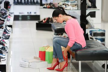 Woman fitting stilettos