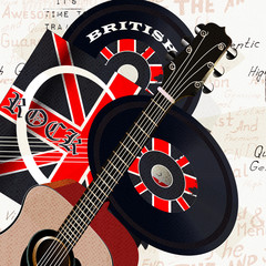 Grunge background with retro vinyl disc, GB flag and acoustic gu