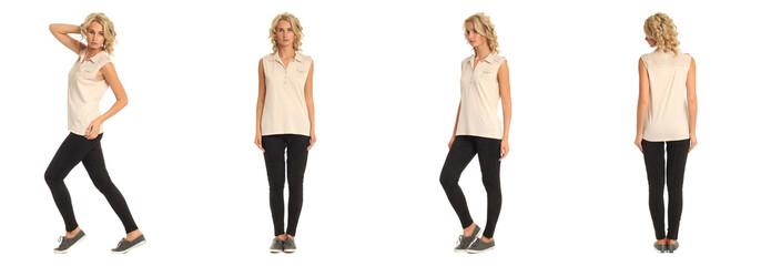 Full length portrait of beautiful blonde in beige shirt