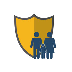 flat design shield and family pictogram icon vector illustration