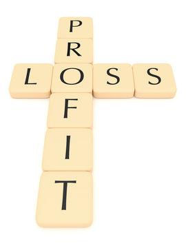 Letter tiles: profit and loss, 3d illustration