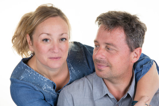 Loving couple portrait. Isolated on white background.