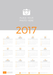 Wall calendar template design for 2017 year. Flat style vector illustration.
