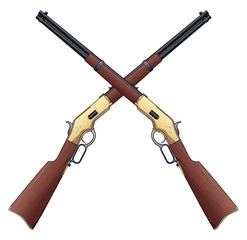 Rifles Crossed is an illustration of two vintage rifles in a crossed design.