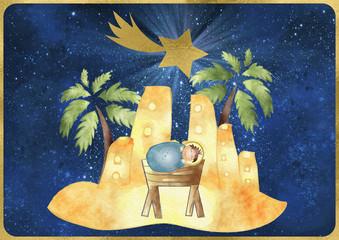 Bethlehem. Merry Christmas card with Child Jesus, town of Bethlehem and star of Bethlehem