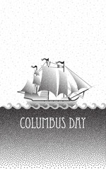 Vector ship with separate editable elements. Design for yacht clubs, shirts, etc. Dotted stipple effect.