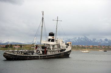 "Steam tug ""Saint Christopher"" Grounded in the Beagle Channel."
