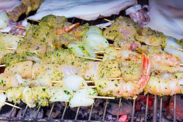 Cooking fish kebabs