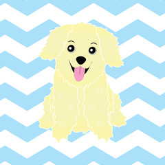 Baby shower illustration with cute puppy on blue zigzag background suitable for nursery wall, postcard, and wallpaper