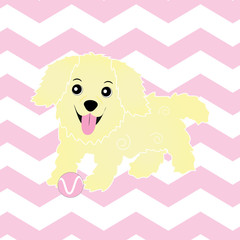 Baby shower illustration with cute puppy on pink zigzag background suitable for nursery wall, postcard, and wallpaper