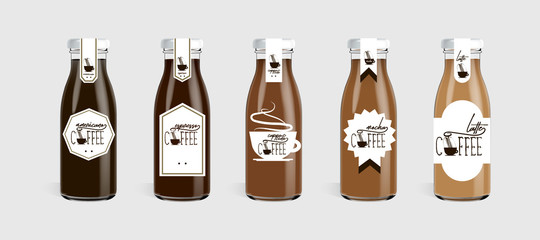 Glass coffee bottle with logo brand concept