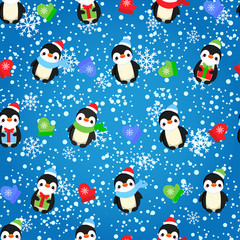 Abstract seamless pattern for girls, boys, clothes. Creative vector background with dots, penguins, snowflakes, gifts.Funny wallpaper for textile and fabric. Fashion style. Colorful bright.