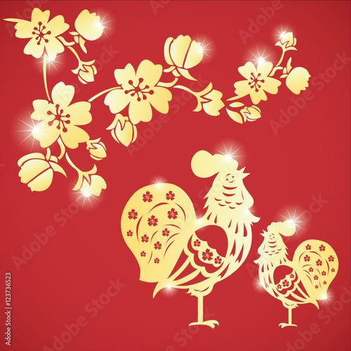 golden rooster chinese new year 2017 with gold flower - When Is Chinese New Year 2017