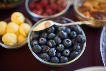 Bowl of the blueberries on the wedding banquet