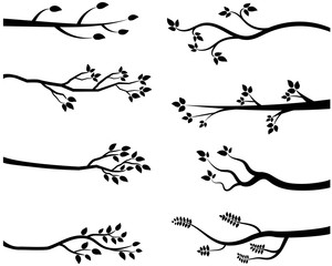 Cartoon vector black tree branch silhouettes