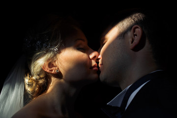 Beautiful newlyweds together in their special day