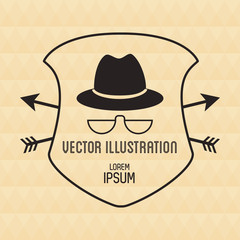 Hat and glasses icon. Hipster style vintage retro fashion and culture theme. Colorful design. Vector illustration