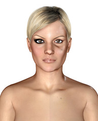 3d illustration of a same healthly and damaged skin