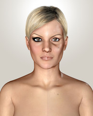 3d illustration of a same healthly and damaged skin