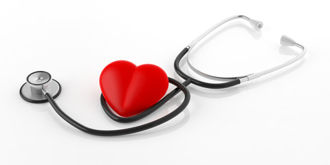Stethoscope and red heart. 3d illustration