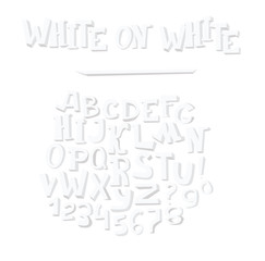 Vector hand drawn illustration with group of white alphabet letters, isolated on white background. Abc sequence from A to Z and numbers, handwritten in 3d style with grey inner shadows.