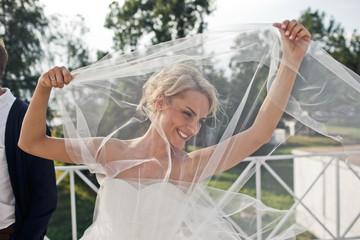 bride enjoying  her wedding day