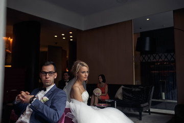 married couple  take rest after ceremony