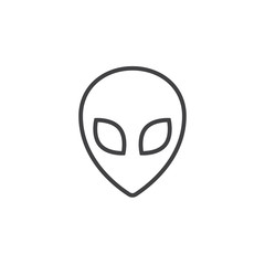 Alien line icon, outline vector logo illustration, linear pictogram isolated on white