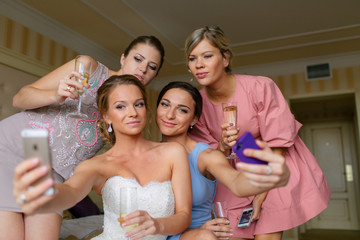 Selfie of the beautiful bride and bridesmaids