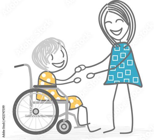 une personne g e dans un fauteuil roulant se fait aider par une femme fichier vectoriel libre. Black Bedroom Furniture Sets. Home Design Ideas