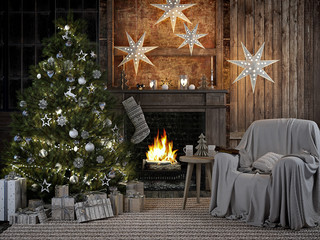 cozy christmas interior with firelace and christmastree. 3D RENDERING
