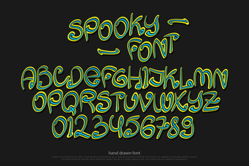 cartoon style alphabet letters and numbers isolated on black background. vector spooky, comic font type. scary Halloween character design. handwritten, decorative typesetting
