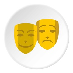 Theatrical masks icon. Flat illustration of masks vector icon for web design