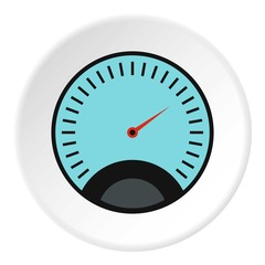 Speedometer with blue background icon. Flat illustration of speedometer with blue background vector icon for web