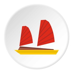 Vietnamese junk boat icon. Flat illustration of vietnamese junk boat vector icon for web