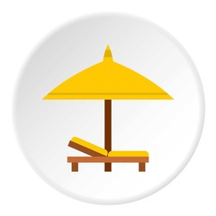 Bench and umbrella icon. Flat illustration of bench and umbrella vector icon for web