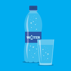 Bottle and glass of fresh sparkling water icon in flat style isolated on blue background. Stylized vector eps10 illustration.