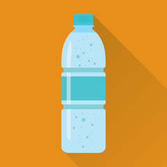Plastic bottle of fresh sparkling water icon in flat style isolated on orange background. Stylized vector eps10 illustration.