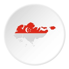 Map of Singapore icon. Flat illustration of map of Singapore vector icon for web