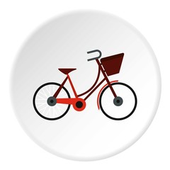 Bike with front bag icon. Flat illustration of bike with front bag vector icon for web