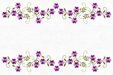 Border from violet flowers and leaf embroidered satin stitch on white background