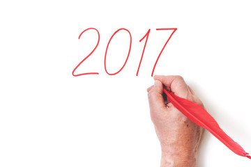 2017 Hand writing numbers red feather on white background