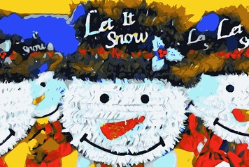 drawing and painting snowman dolls with hat background
